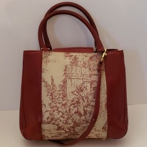 Brahmin Bags - Brahmin red leather and canvas crossbody bag